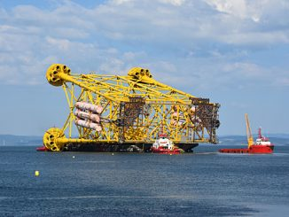 The third of the three jackets Kvaerner has delivered for phase 1 of the Johan Sverdrup project (photo: Kvaerner)