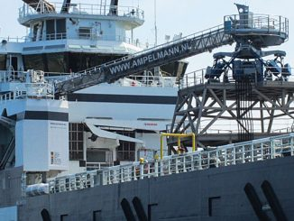 An E-type gangway system has been installed on the Olympic Orion vessel (photo: Ampelmann)