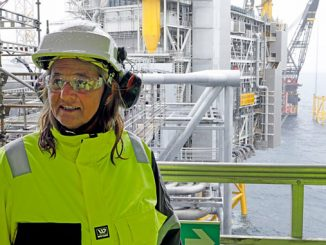 Margareth Øvrum, executive vice president for Technology, Projects and Drilling, visiting the Johan Sverdrup field (photo: Equinor/Arne Reidar Mortensen)