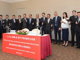 Collaboration between CS Wind and Chin Fong Machine Industrial to supply 100% localised towers required for wpd's Yunlin project in 2021