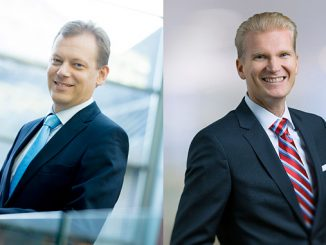 From left, Roger Holm, currently President of Marine Solutions, will lead Wärtsilä Marine Business and Wärtsilä Energy Business will be headed by President of Energy Solutions Marco Wirén