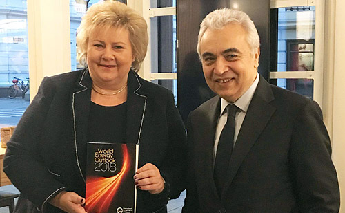IEA Executive Director Dr Fatih Birol with Norwegian Prime Minister Erna Solberg