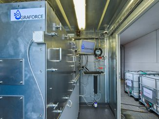 The Graforce Power2X-plant in Berlin – Containers for wastewater and cleaned water on the right – inside the Plasmalyzer (left), a high-frequency plasma, generated from renewable energy, converts pollutants into energy and reduces emissions