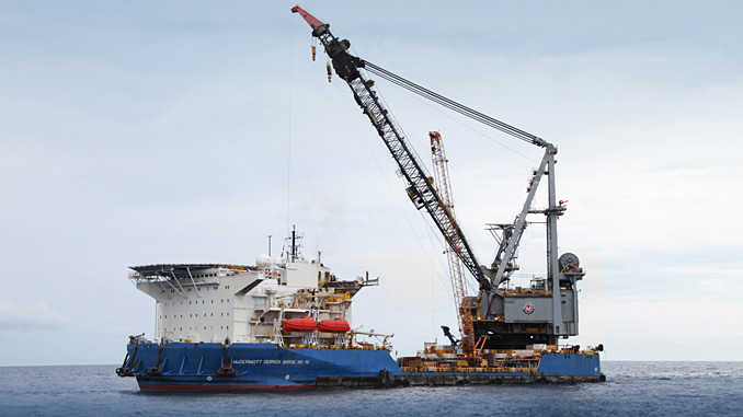 'Derrick Barge 50', a dynamically positioned (DP 2), premier heavy-lift and deepwater lowering vessel