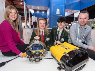 Steph Crawford of OPITO with Albyn school pupils Louise Brodie (16) Harris Macdonald (16) and Stuart Sloan of JFD