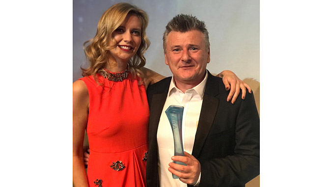 OAA Host Rachel Riley and Well-SENSE CEO Craig Feherty, who accepted the Emerging Technology Award