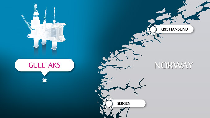 The main Gullfaks field – developed with three large concrete production platforms – lies in block 34/10 in the northern part of the Norwegian North Sea