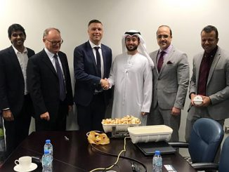 From left, George Yohannan, Bjarne Kolbo Nielsen and Kevin Momme from VIKING Life-Saving Equipment – middle to right, Yousef Humaid Saleh, Mashood Dar, Gaurav Ravi Chaudhary and Abubacker Sitheik from ADNOC Logistics & Services