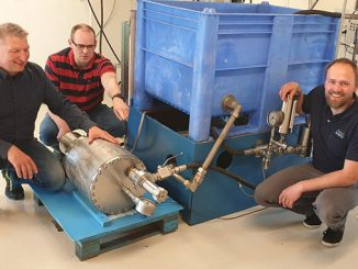OBS Technology lab's test bed to demonstrate the depth compensation function of a DGP accumulator prototype – from left, Lorents Gran, Technical Manager; Odd Rønning, R&D Senior Engineer; and Kåre Tyldum, R&D Design Engineer