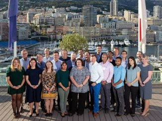 Members of the GEBCO-Nippon Foundation Alumni Team and partners at the International Hydrographic Organization (IHO) in Monaco – the team met with IHO Secretary General Mathias Jonas (front, fifth from right) (photo: Rebecca Marshall)