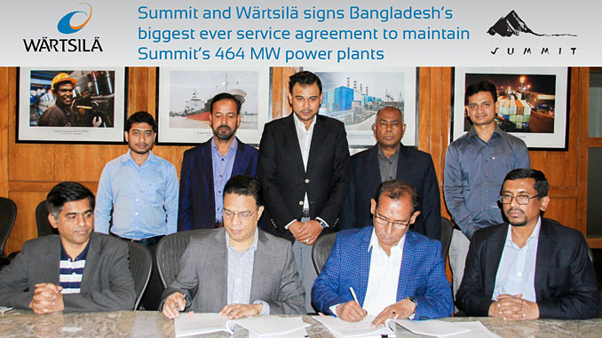 Eng Mozammel Hossain, Managing Director of Summit Gazipur II Power and Summit Ace Alliance Power (right) and Jillur Rahim, Managing Director of Wärtsilä Bangladesh (left) signed Bangladesh's biggest ever Maintenance agreements at Summit Centre, Dhaka