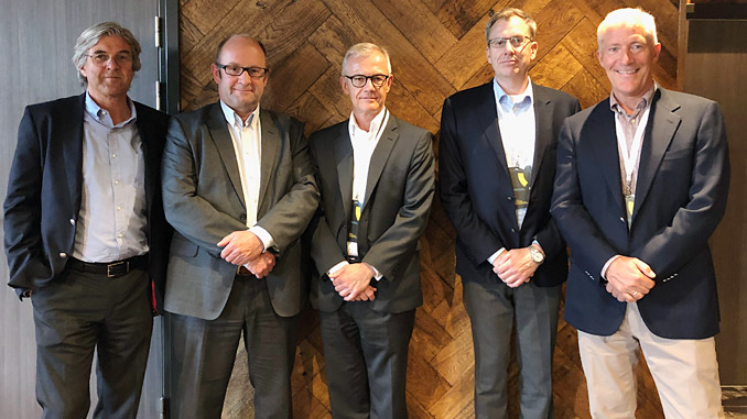 From left, Nils Petter Dyvik, Member Board of Directors, NorSea Group AS; John Stangeland, CEO of Norsea Group As; Carl Schou, CEO and President of Wilhelmsen Ship Management; Hakon Lenz, Vice President of Region Europe and Americas, Wilhelmsen Ship Management; and Jan Eyvin Wang, Senior vice president industrial investments, Wilh. Wilhelmsen Holding ASA