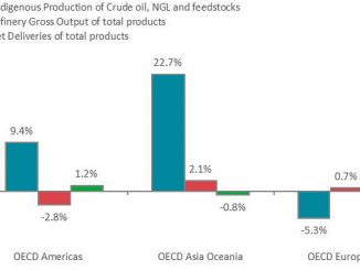 Oil production growth rate per flow and OECD region in April 2019, year-over-year (illustration: IEA)