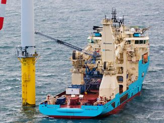 Ampelmann's E1000 gangway being utilised on an offshore wind turbine