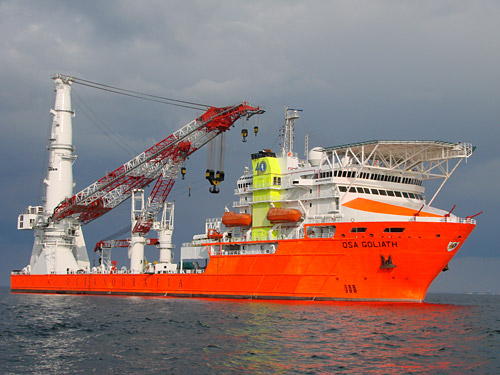 Liebherr Type MTC 78000 offshore heavy-lift crane installed on the 'OSA Goliath'