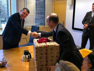 Kjell-Børge Freiberg (left), Norway's minister of Petroleum and Energy, has approved the plan for development and operation of the Troll Phase 3 development – a happy Torger Rød, Equinor, received this early Christmas gift (photo: Equinor/Eskil Eriksen)