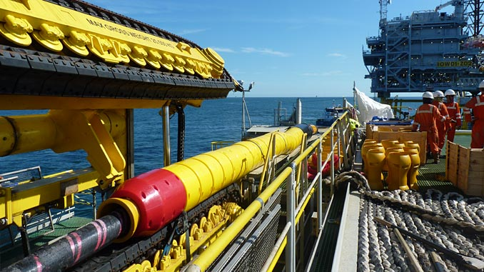 Tekmar Cable Protection System on the back of a Jan De Nul Group vessel installing an offshore wind project