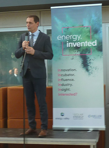 "Preben Strøm, Managing Director of Energy Valley opening the new energy.invented – an energy technology ""incubator""."