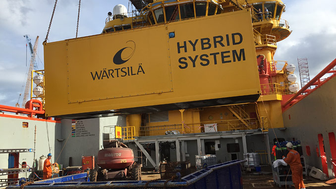 The Wärtsilä hybrid system has the integrated systems all installed within a single container