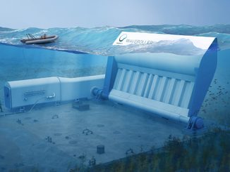 The WaveRoller operates in near-shore areas (approximately 0.3-2 km from the shore) at depths of between 8 and 20 metres, converting ocean wave energy to electricity