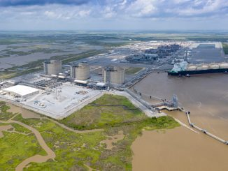 Cameron LNG loads the first commissioning cargo from the first liquefaction train of the export project in Hackberry, Louisiana, USA