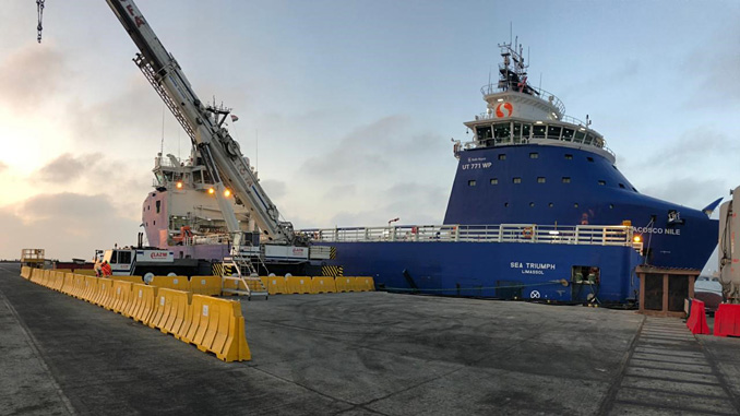 The platform support vessel 'MV Sea Triumph' is an integral part of the supply base concept