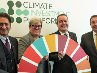 "CIP to ""deliver co-benefits across the SDGs"" – from left, IRENA Director-General Francesco La Camera, SEforALL CEO Rachel Kyte, Green Climate Fund Executive Director Yannick Glemarec, and UNDP Administrator Achim Steiner"