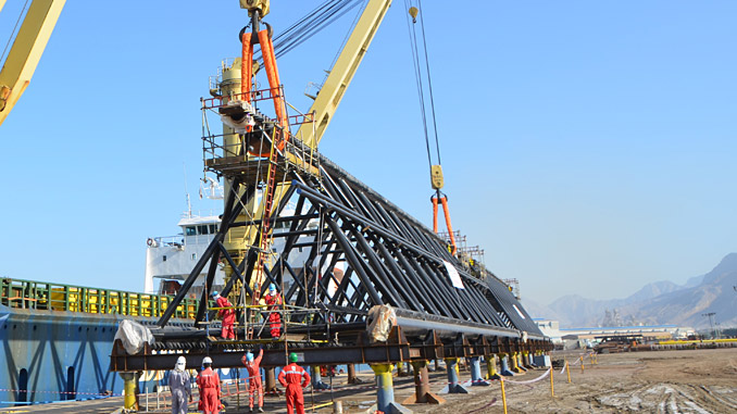 Loading of the new legs on the transport vessel in Ras Al Khaimah, UAE
