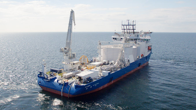 The 'NKT Victoria' is a state-of-the-art high-voltage cable laying vessel