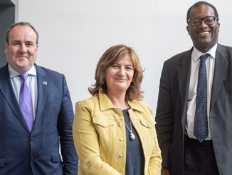 From left, Scotland's Minister for Energy, Paul Wheelhouse; CEO of the Oil & Gas Technology Centre, Colette Cohen; and UK Minister of State for Energy and Clean Growth, Kwasi Kwarteng