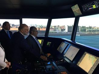 Ana Paula Vitorino, Portugal's Minister of Sea & Cmdt. Rui Cunha, APDL Port Operations and Security Director, testing the Full Mission Bridge simulator – the biggest and most modern in Portugal with a 360° projection technology – during the inauguration ceremony
