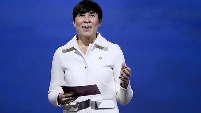 Norway's Minister of Foreign Affairs, Ine Eriksen Søreide, opens the Our Ocean Conference 2019 (photo: Stine Østby, Medvind)