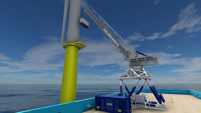The E5000 system, with its full motion compensation, will be able to transfer people and up to 5 tons of cargo in rough waters