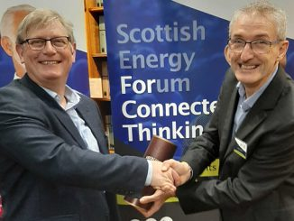 At left, Robert Trice, who spoke at the relaunch, and John Naismith, EVP of The Scottish Energy Forum