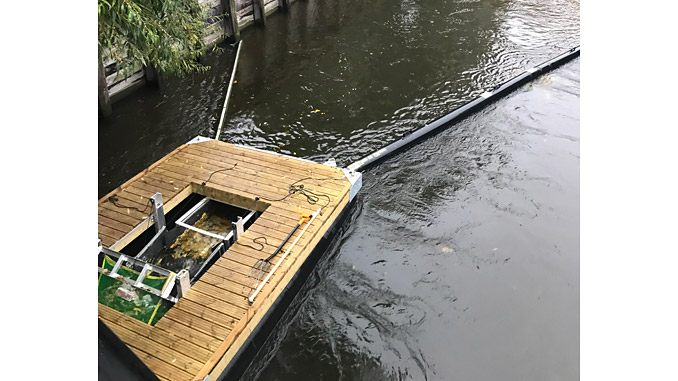 Trash Trawl in operation in the Akers river in Oslo