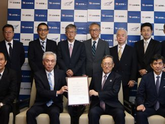 First row from left: Hidetoshi Maruyama, Senior Managing Corporate Officer and CIO, NYK Line; Atsuo Kuwabara Ltd., President, NYK LNG Shipmanagement Ltd.; Koichi Fujiwara, President & CEO, ClassNK; Capt. Tomoyuki Koyama, Managing Corporate Officer, NYK Line – second row from left, Kazumasa Okazaki, Corporate Officer, NYK Line; Hiroaki Sakashita, Senior Executive Vice President, ClassNK; Hideki Suzuki, Corporate Officer, NYK Line; Hirofumi Takano, Senior Corporate Officer, ClassNK; Dr Toshiro Arima, Corporate Officer, ClassNK; Capt. Naoki Saito, Maritime Education & Training Certification Team General Manager, ClassNK; Capt. Hisaya Higuchi, Marine Group General Manager, NYK Line (photo: ClassNK)