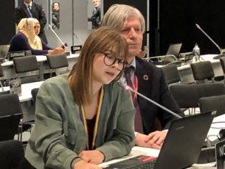 Minister Ola Elvestuen and youth delegate Sofie Nordvik gave a joint statement at the closing plenary of the climate conference in Madrid on Sunday, 15 December (photo: KLD)