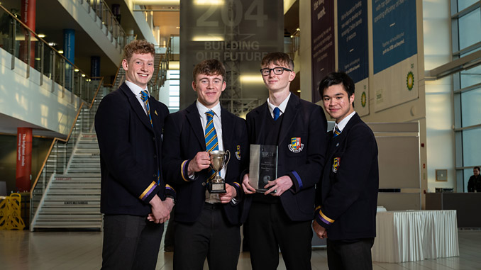 Paddy Petroleum, the winning team from Robert Gordon's College are pictured at BP's North Sea headquarters with their STEM in the Pipeline 2019 award – from left, Alistair Finch, Patrick Ashdown, Douglas Fraser and Sean Alger