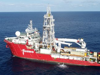 The dedicated drill ship, 'Fugro Mariner'