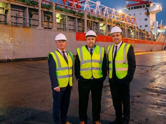 From left, Sandy Bell, Baker Hughes Global Logistics Leader SPS & Services Oilfield Equipment; Captain Tom Hutchison, MPA CEO; and Lorenzo Romagnoli, Baker Hughes Director of Supply Chain
