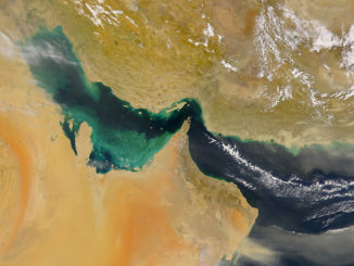 An important shipping lane, the Strait of Hormuz links Middle East oil and chemical exporters to the rest of the world (photo: NASA)