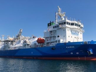 The LNG Bunker vessel 'Kairos' has been fitted with the Wärtsilä SceneScan laser-based targetless relative DP reference system (photo: Jann Voss, TSI-LNG, BSM Germany)