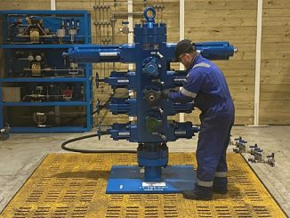 RMEC pressure control mechanic, Lee Alexander, setting up client owned equipment for hydrostatic testing at the firm's new test bay